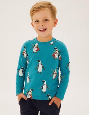 Pure Cotton Penguin Print Top (2-7 Yrs)