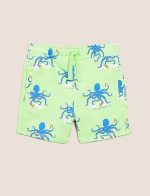 Organic Cotton Printed Octopus Shorts (2-7 Yrs)
