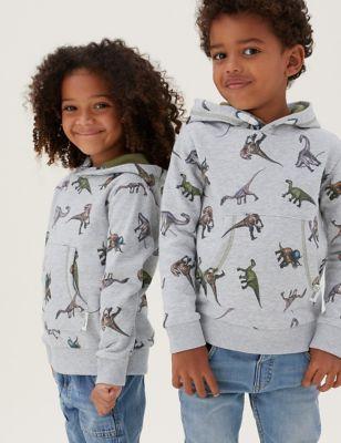 NHM™ Dinosaur Printed Cotton Hoodie (2-12 Yrs)