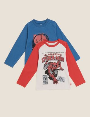 2pk Pure Cotton Spider-Man™ Tops (2-7 Yrs)