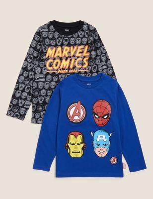 2pk Pure Cotton Marvel Superheroes™ Tops (2-7 Yrs)