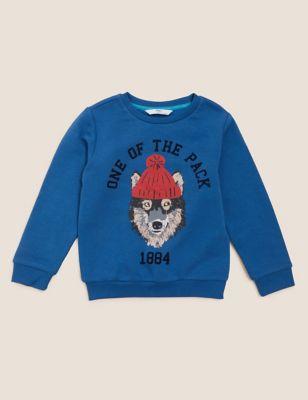 Cotton Wolf Sweatshirt (2-7 Yrs)