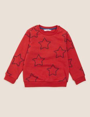 Cotton Star Print Sweatshirt (2-7 Yrs)