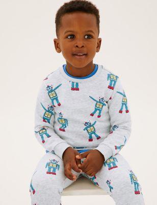 Cotton Robot Print Sweatshirt (2-7 Yrs)