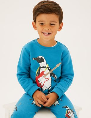 Cotton Penguin Print Sweatshirt (2-7 Yrs)