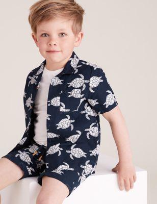 2pc Cotton Turtle Print Shirt with Shirt (2-7 yrs)