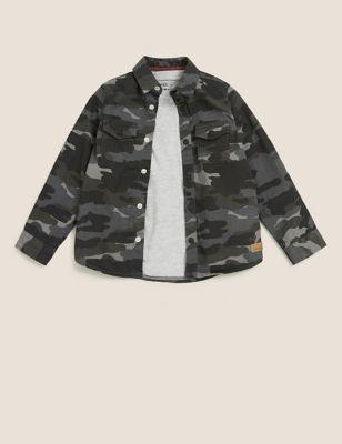 Cotton Camouflage Shirt & T-Shirt Set (2-7 Yrs)