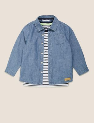 2pc Pure Cotton Denim Shirt with T-Shirt (2-7 Yrs)