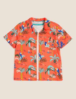 2pc Pure Cotton Tropical Shirt and T-Shirt (2-7 Yrs)