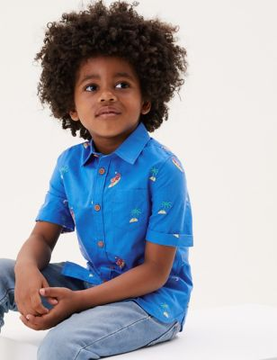 Pure Cotton Tiger Embroidered Shirt (2-7 Yrs)