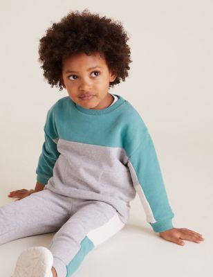 Cotton Colour Block Sweatshirt (2-7 Yrs)