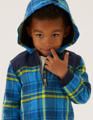 Pure Cotton Checked Hooded Shacket (2-7 Yrs)
