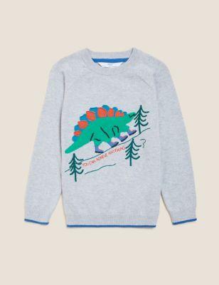 Pure Cotton Dinosaur Jumper (2-7 Yrs)