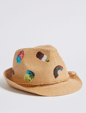 c5d3c3f9 Kids' Straw Trilby Hat with Sun Smart UPF50+ (6 Months - 6 Years)