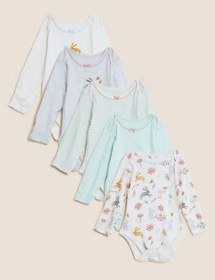 5pk Pure Cotton Printed Bodysuits (61/2 lbs - 3 Yrs)