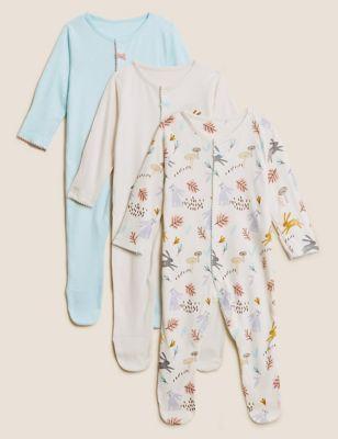 3pk Pure Cotton Woodland Print Sleepsuits (61/2 lbs - 3 Yrs)