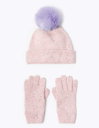 Kids Pom Pom Hat And Glove Set 3 14 Years