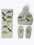 Kids' Dinosaur Hat, Scarf & Mittens Set (6 Months - 6 Years)