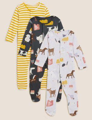 3pk Pure Cotton Animal Printed Sleepsuits (61/2 lbs - 3 Yrs)