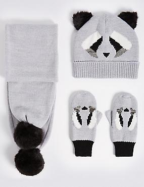 Kids' Hats, Scarf & Gloves Set, GREY MIX, catlanding