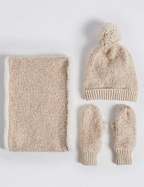 Kids' Hats, Scarves & Gloves Set, CREAM MIX, catlanding