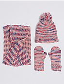 Kids' Hat, Snood & Mittens Set