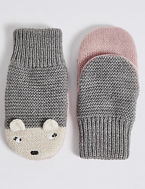 Kids' Hedgehog Mittens, GREY MIX, catlanding