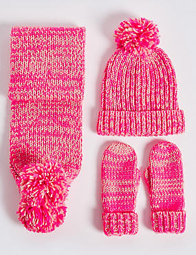 Kids' Hat, Scarf & Gloves Set , PINK MIX, catlanding