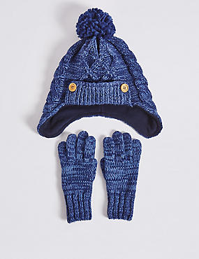 Kids' Hat & Glove Set, NAVY MIX, catlanding