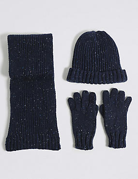 Kids' Hat, Scarf & Gloves Set, NAVY MIX, catlanding
