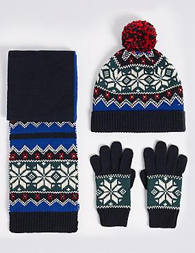 Kids' Fairisle Hat, Scarf & Gloves Set, MULTI, catlanding