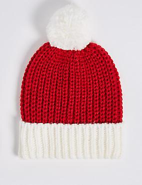 Kids' Santa Pom-pom Hat, RED MIX, catlanding
