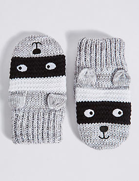 Kids' Animal Print Mittens, GREY MIX, catlanding