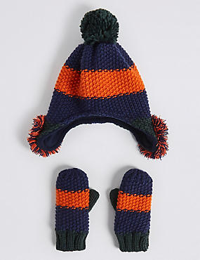 Kids' Novelty Pom-pom Trapper Hat & Mittens, MULTI, catlanding