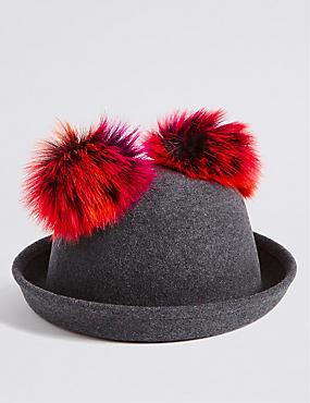 Kids' Pure Wool Pom Pom Ears Hat, GREY, catlanding