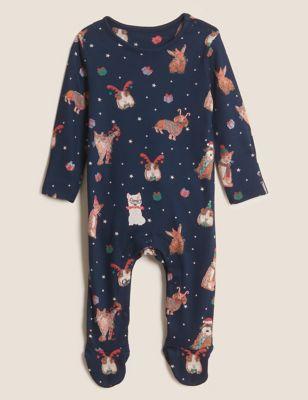 Pure Cotton Christmas Pet Sleepsuit (0-3 Yrs)