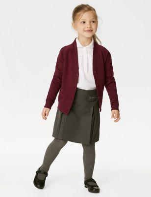 Girls' Cotton Regular Fit School Cardigan (2-16 Yrs)