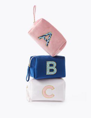 Alphabet Velvet Make-Up Bag