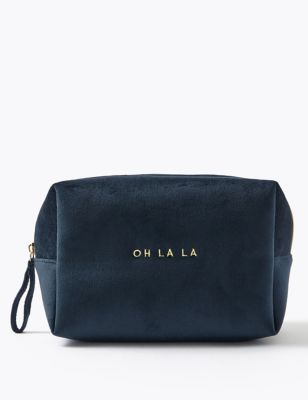 Navy Oh La La Slogan Velvet Bag