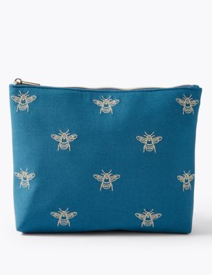Embroidered Bee Make-up Pouch