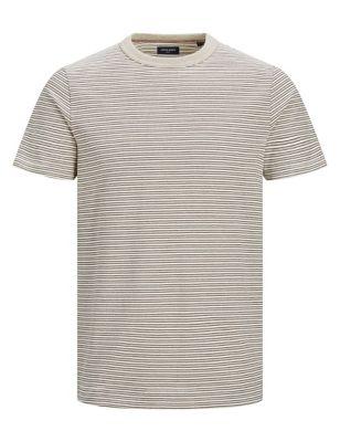 Cotton Striped Crew Neck T-shirt