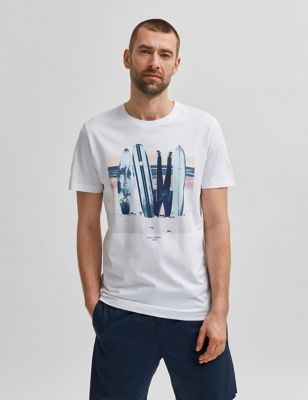 Pure Cotton Surfboard Graphic T-Shirt