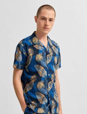 Cotton Leaf Print Revere Shirt