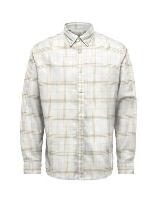 Slim Pure Cotton Check Shirt