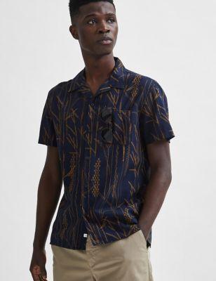 Slim Fit Cotton Print Revere Shirt