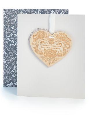 Wooden Heart Wedding Card
