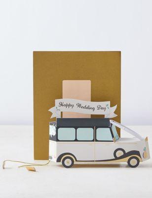 3D Pop-up Vintage Car Wedding Congratulations Card