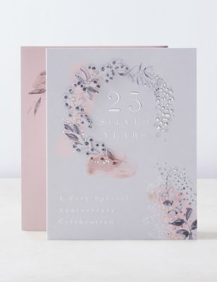 3D Effect Silver Foiled 25th Wedding Anniversary Card