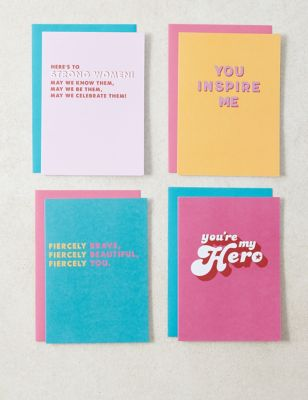 Pack of 4 Contemporary 'Just Because' Cards - 4 Cards in 4 Designs