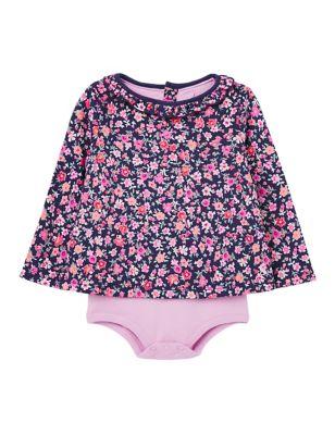 Pure Cotton Floral Bodysuit (0-24 Mths)